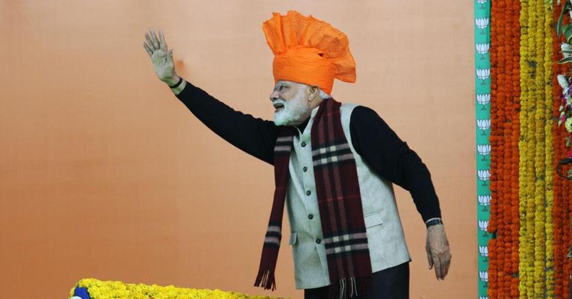 Il premier indiano, Narendra Modi, durante in comizio a Jammu il 3 febbraio 2019